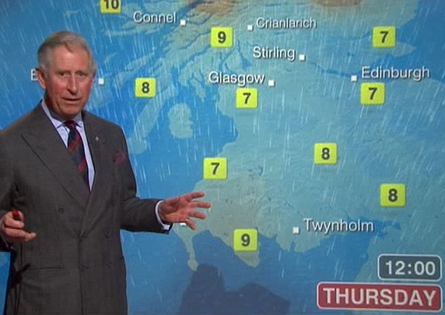 Viewers of BBC Scotland's lunchtime news were treated to a weather forecast delivered by Prince Charles