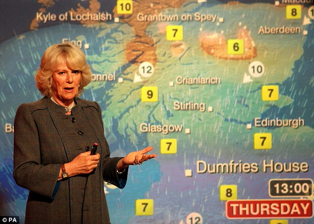 After her husband had finished Camilla also tried her hand at presenting the weather