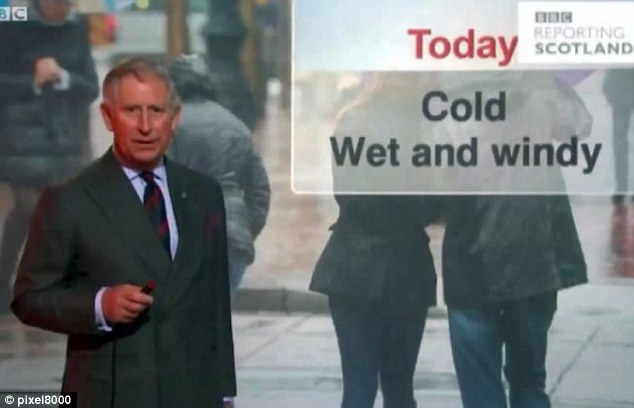 More rain on the way: Prince Charles became something of an internet sensation when he decided to try his hand at reading the weather