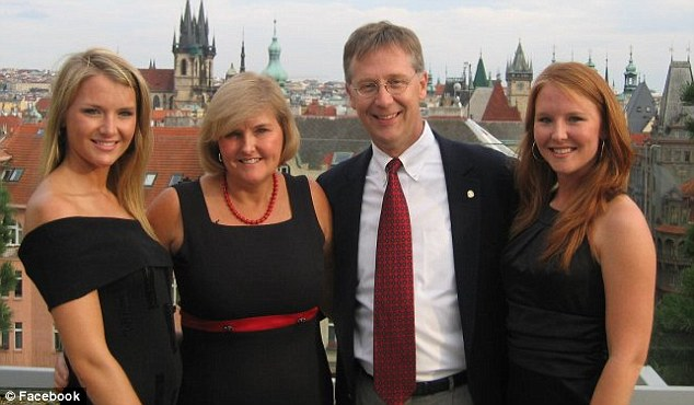 Much-loved: Aimee's friends and family are praying for her survival and eventual recovery (from left - Aimee, mother Donna, father Andy and sister Paige)