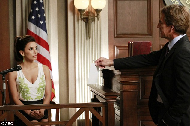 ECourtroom drama: Eva Longoria, who plays Gabrielle Solis, is seen taking the stand in Bree's murder trial in the final episodes of Desperate Housewives