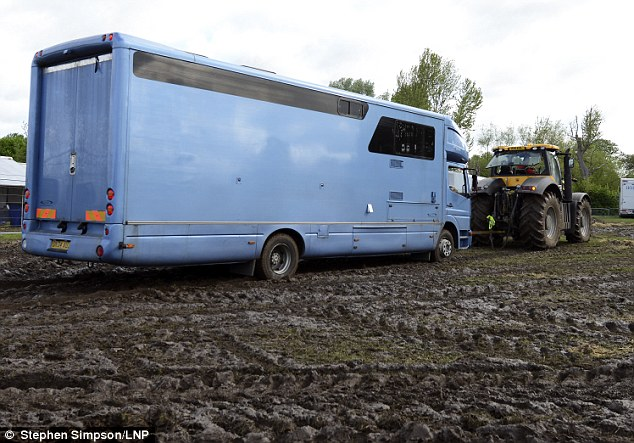 The adverse weather conditions over the past week meant the Royal park had been turned into a bog, meaning competitors struggled to get their  horseboxes into the venue
