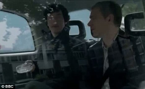 Fans up in arms: This scene from Sherlock episode A Scandal in Belgravia in which the detective shows Watson an ashtray he stole from Buckingham Palace was among those axed from the U.S showing of the programme