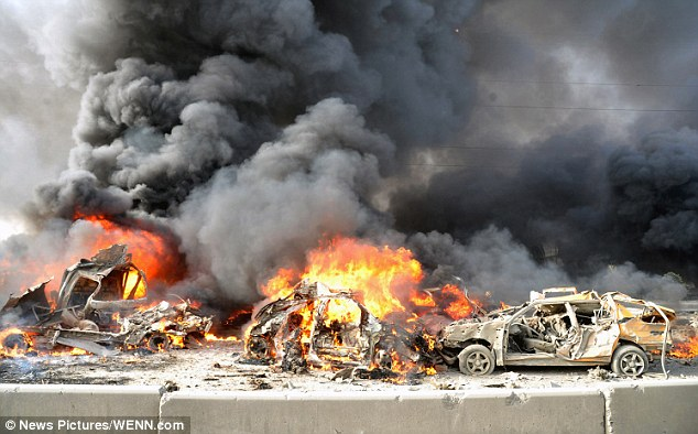 Rocked: The car bomb explosions killed 55 and injured 370 in the Syrian capital on Thursday