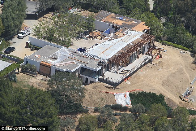 Overhaul: An aerial shot of Jennifer Aniston and Justin Theroux's $21m Bel Air mansion under construction