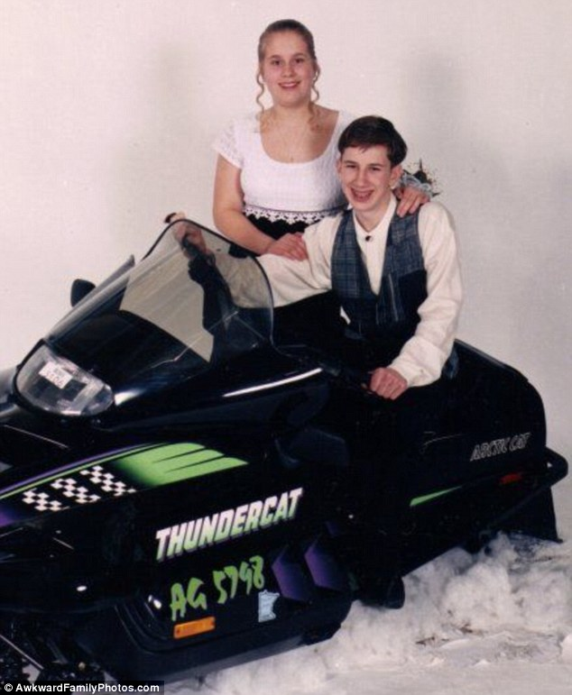 Prop flop: When in doubt, look for a huge snowmobile to add some interest to your treasured prom photo