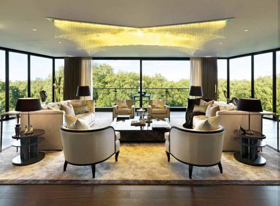Airy: The 8th floor living space has views over the treetops of London's Hyde Park