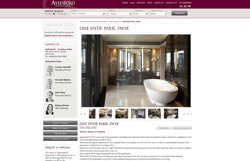 For sale: The property has appeared on the website of luxury estate agents Aylesford & Co