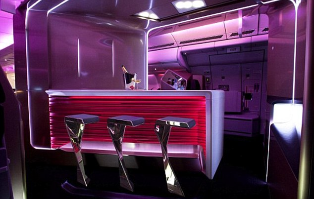 The executive bar where passengers will be able to joy a glass of champagne