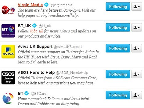 Tweet tweet: Some of the big brands using Twitter to communicate with customers.