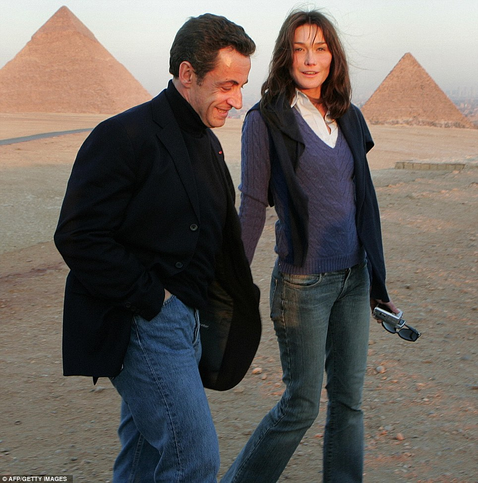 His and hers outfits: The couple look casual in jeans and jumpers on a trip to Egypt before they married in 2007