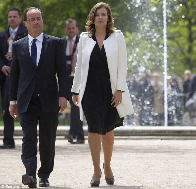 Tribute: President Francois Hollande Valerie Trierweiler arrive at a ceremony to pay tribute to the 19th century education reformer Jules Ferry at the Tuileries Garden