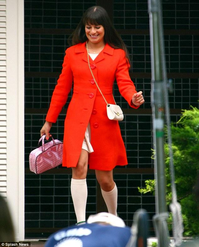 Superstar: Lea was seen filming scenes for the hit show last week in Los Angeles
