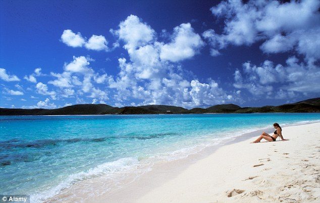 Exotic: A beach in The British Virgin Islands similar to the one where Stavros is likely to have been picked up for the ride to Scotland