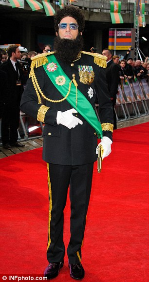 Sacha Baron Cohen, as the Dictator, arrives at the movie's world premiere in London
