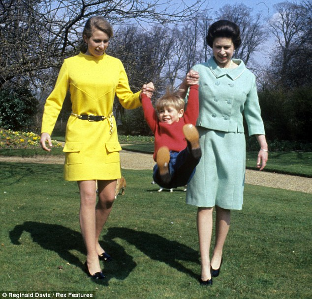 Swinging sixties: The Queen and Princess Anne, 18, play with four-year-old Prince Edward in 1968