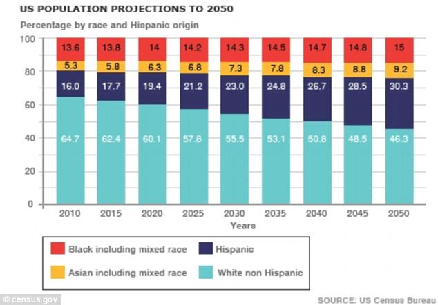 In flux: A bar chart showing the population projections for the U.S. over the next 40 years. Some now believe ethnic minorities will outnumber whites before 2040