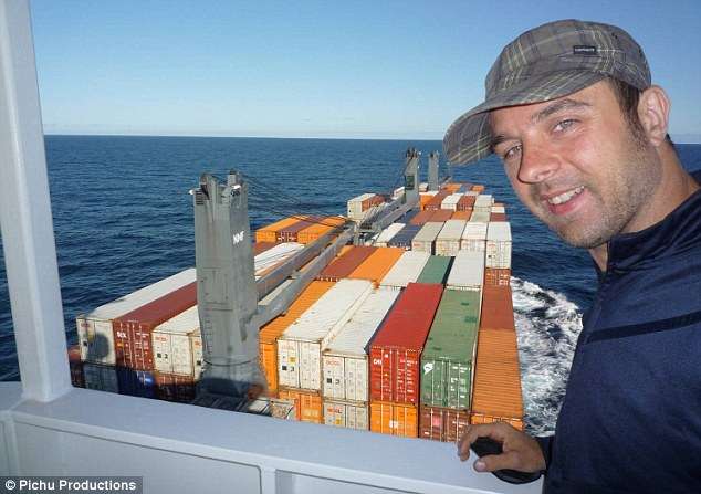 Michael Wigge on a cargo ship