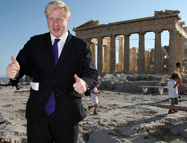 Holiday snaps: The London mayor poses for a photograph in front of the Acropolis