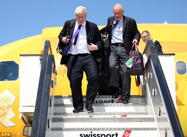 Arriving in Athens: Boris Johnson stepped off the 2012 plane in Athens on Wednesday