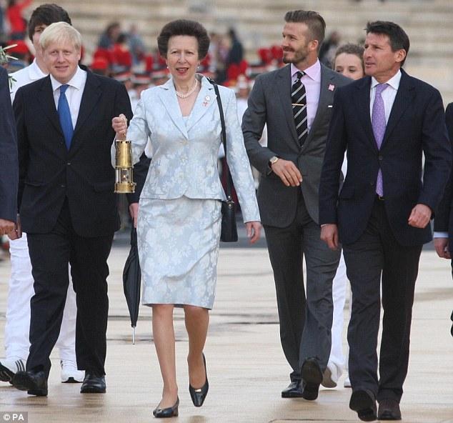 London delegation: Boris Johnson, Princess Anne, David Beckham and Sebastian Coe take part in the handover ceremony