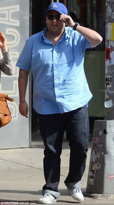 A big change: Recently slim Jonah Hill was spotted looking heavier today in New York City