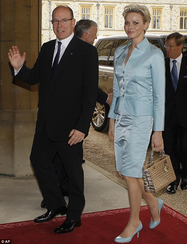 Prince Albert II of Monaco and Princess Charlene arrive for the  Jubilee lunch at Windsor Castle