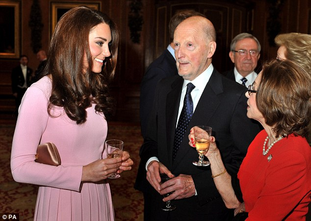 At ease: Kate chats to King Simeon of Bulgaria and his wife Margarita