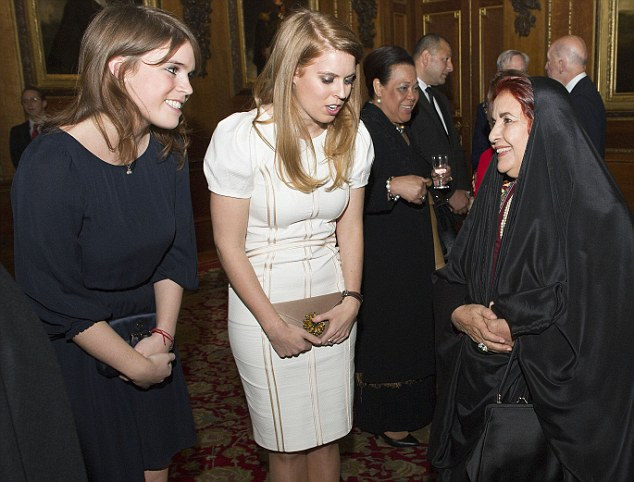 Pleased to meet you: Princesses Eugenie and Beatrice with Princess Sabika of Bahrain