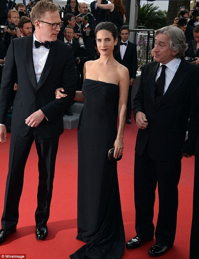 Leading men: Jennifer's husband Paul Bettany also turned out to support her