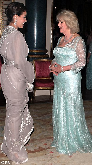 The Duchess of Cornwall greets Princess Lalla Meryem of Morocco