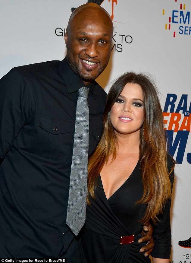 Her perfect date: Khloe arrived on the arm of her husband Lamar Odom