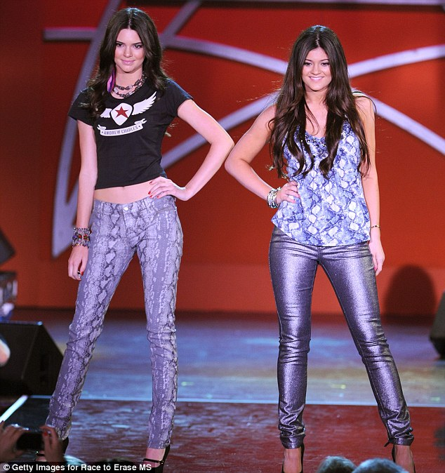 Rock chicks: Teenagers Kendall and Kylie Jenner paraded their pins in rock chick-style jeans at the 9th Annual Race to Erase MS event this evening
