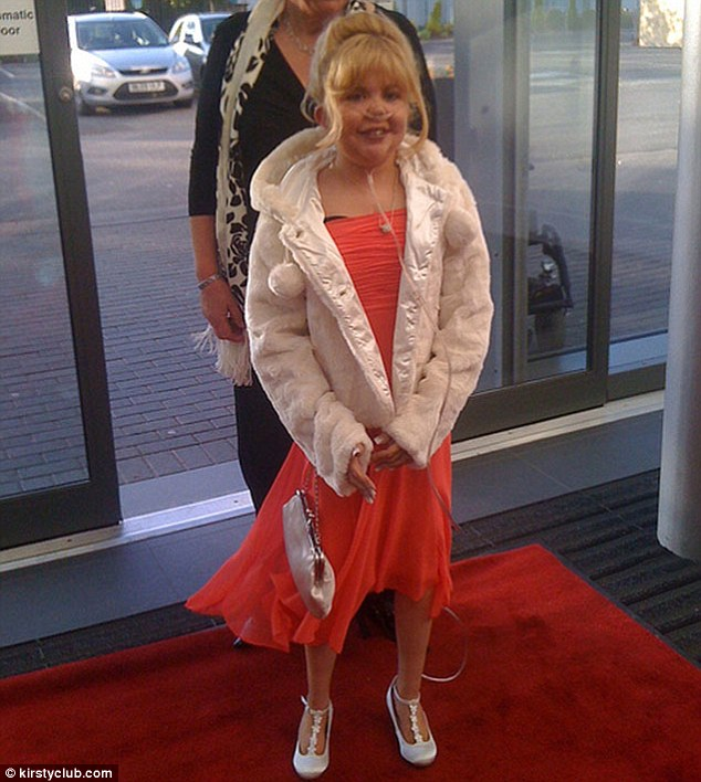 Party girl: Kirsty arrives at her school prom at Lancashire Cricket Club earlier this month