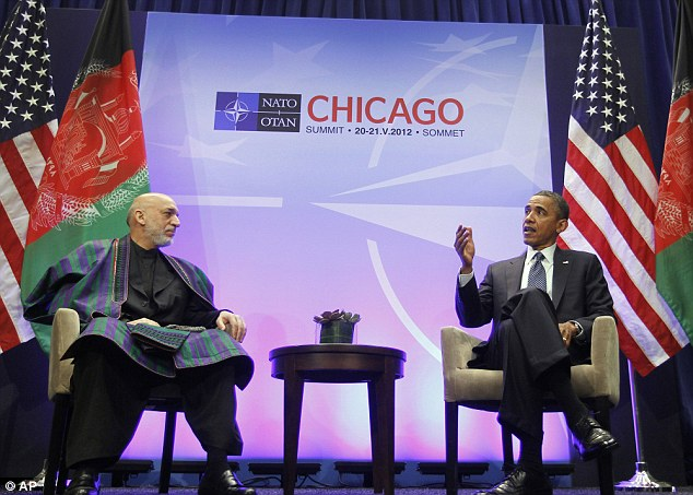 Discussions: Obama meets with Afghan president Hamid Karzai this morning at the Nato summit in Chicago