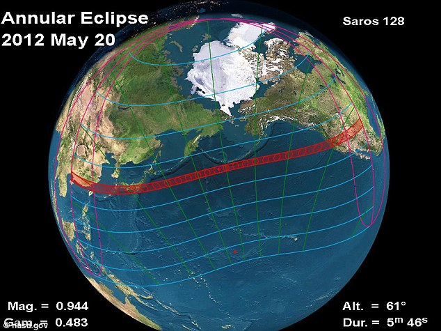 Path: The eclipse begins in eastern Asia on Monday then crosses the north Pacific to end in western U.S.