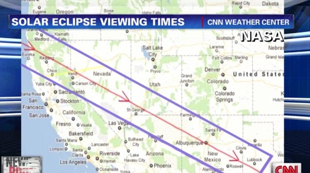 Strip: The blazing halo will be visible from northwestern Texas through New Mexico, northeastern Arizona, southern Utah, Nevada, northern California and southwestern Oregon