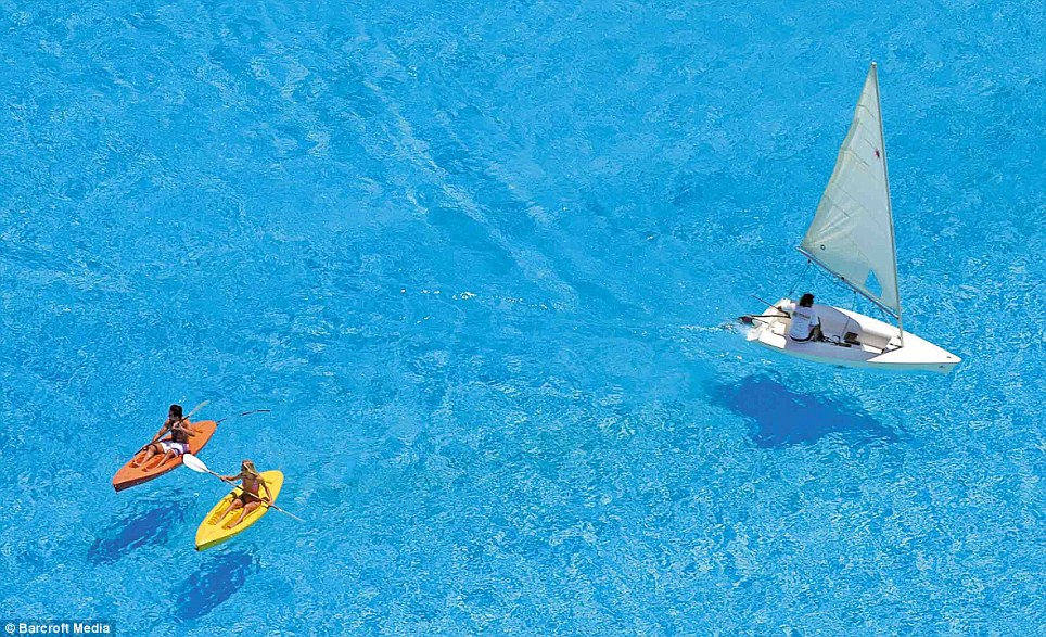 Whatever floats your boat: The record-breaking dimensions mean visitors can paddle or sail their way around the pool instead of swimming