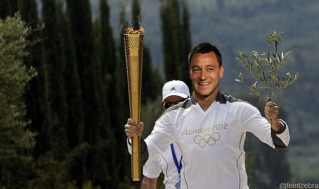 Carrying the Olympic flame: Online spoofers have continued the theme that Terry had 'trespassed' his way to collecting the Champions League trophy because he hadn't played in the final