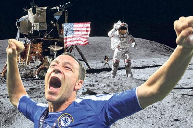 Trespasser! Internet pranksters have placed Chelsea captain John Terry (pictured) in historic events, such as this moon landing, after he received the Champions League trophy despite not having played in the final