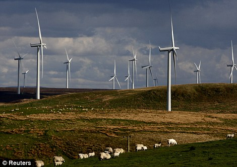 Glimpse of the future: The Whitelee wind farm near Eaglesham, East Renfrewshire, in Scotland shows what Britain is likely to see much more of to meet EU green energy targets