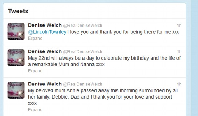 Tragedy: Annie's passing came on the same day that Denise turned 54. Welch revealed the sad news on her Twitter page this morning