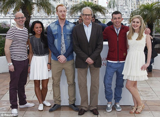 Competition: Director Ken Loach, third from right, poses with cast members from left Gary Maitland, Jasmin Riggins, William Ruane, Paul Brannigan and Siobhan Reilly