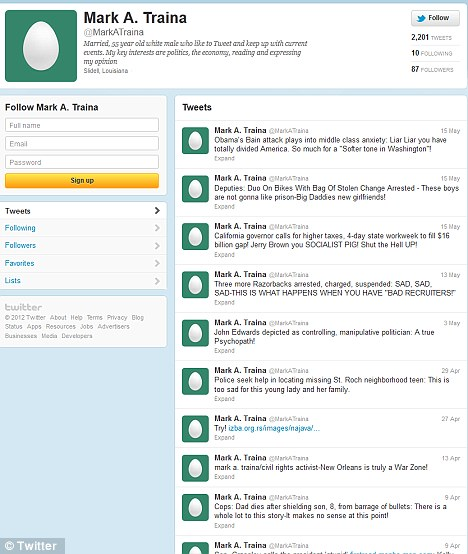 Bad egg? Mark Traina's twitter account with his latest tweets