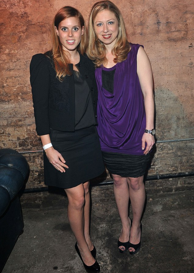 Bea here now: Chelsea Clinton met Princess Beatrice in London earlier tonight at charity event A Night Out With The Millennium Network