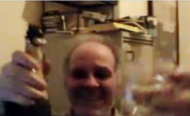 Rubbing it in: Mr Hirst, pictured in a YouTube video in 2010, toasted his apparent victory in his human rights case 'with champagne and a joint'