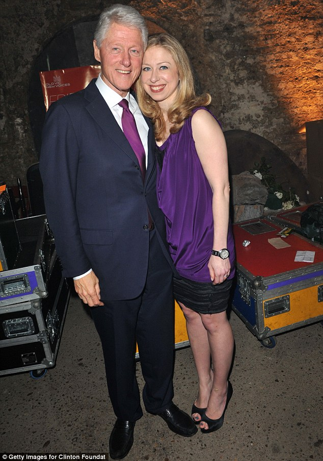 Like father like daughter: Chelsea posed for a picture with her father
