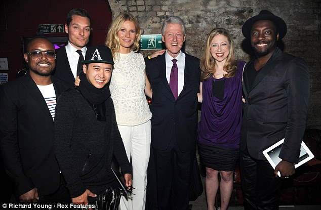 All-star: The Clintons posed with VIP guests including Gwyneth, will.i.am and Apl.De.Ap