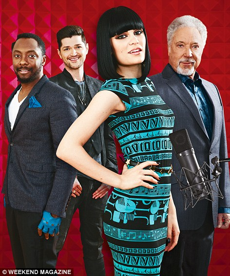 Under fire: Judges Will.I.Am, Danny O'Donoghue, Jessie J and Tom Jones have all seen sales of their own music rise while the show's ratings have fallen