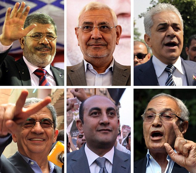 Contenders: (Top-L to R) Mohammed Morsy, Abdel Moneim Abu al-Fatuh, Hamdeen Sabahi and (Bottom-L to R) Amr Moussa, Khaled Ali and Ahmed Shafik. No outright winner is expected to emerge from the two-day vote starting